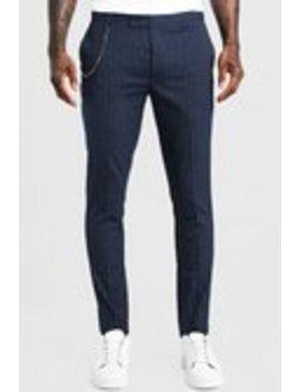 Stripe Chain Detail Smart Trouser by Boohoo Man