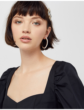 Pearl Medium Hoop Earrings by Accessorize