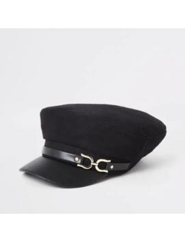 Black Snaffle Baker Boy Hat by River Island