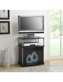 Porch & Den Derbigny Wood Tv Stand With Black Glass Cabinet   Black by Porch & Den