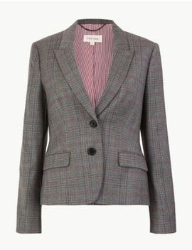 Wool Blend Checked Slim Fit Blazer by Marks & Spencer
