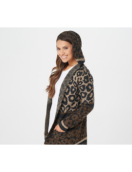 Denim &Amp; Co. Animal Print Hooded Long Sleeve Cardigan by Denim & Co® Fashions.