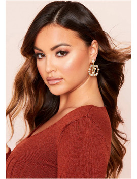 Nadine Gold Gem Pearl Drop Earrings by Missy Empire