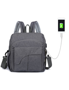 2 In 1 Diaper Bag & High Chair Strap Travel Backpack Multi Functional Nappy Bags With Stroller Strap Usb Charging Port Stylish Unisex For Mom Dad Dark Grey by Walmart