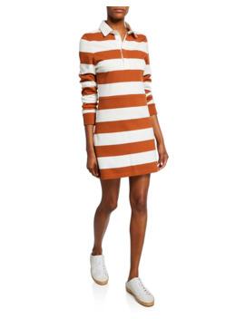 Dusty Striped Long Sleeve Rugby Dress by Veronica Beard