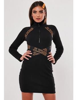 Jordan Lipscombe X Missguided Black High Neck Rib Dress by Missguided