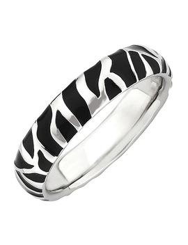 Simply Stacks Sterling Black Epoxy Enamel Animal Print Ring by Simply Stacks(Tm) Jewelry