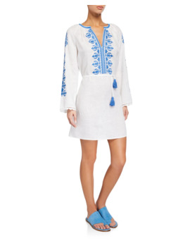 Embroidered Linen Long Sleeve Coverup Dress by Tory Burch