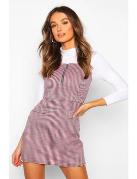Pinafore With Zip And Mock Pocket Detail by Boohoo
