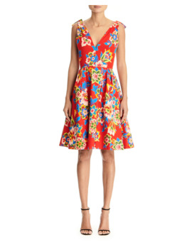Floral Print Poplin V Neck Dress by Carolina Herrera