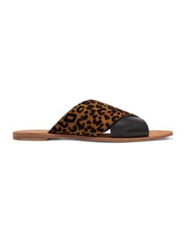 Bailie Leopard Print Suede And Leather Slides by Diane Von Furstenberg