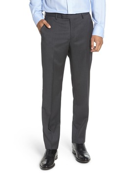Leenon Flat Front Straight Leg Solid Wool Dress Pants by Boss