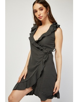Ruffle Dotted Wrap Dress by Everything5 Pounds