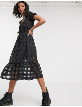 Reclaimed Vintage Inspired Organza Check Midi Dress With Puff Sleeve by Asos