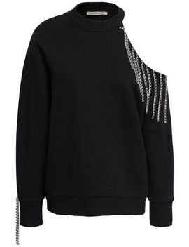 Cutout Embellished French Cotton Terry Sweatshirt by Christopher Kane