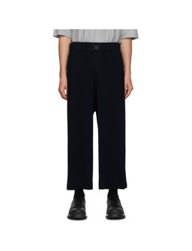 Navy Mc June Pleats Bottom 1 Trousers by Homme PlissÉ Issey Miyake