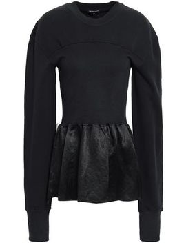 Crinkled Satin Paneled French Cotton Terry Sweatshirt by Ann Demeulemeester