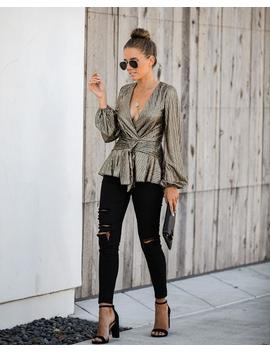 Good As Gold Metallic Tie Blouse by Vici