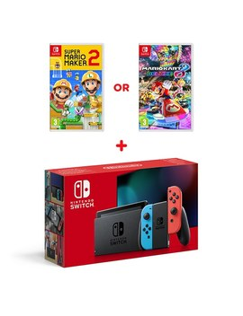 Nintendo Switch Neon Console (Improved Battery) & Select Game by Smyths