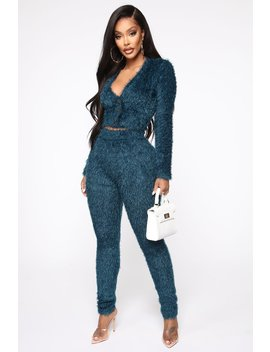 It's All Good Fuzzy Set   Teal by Fashion Nova