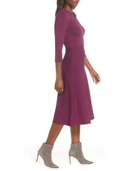 Bow Collar Fit & Flare Sweater Dress by Eliza J
