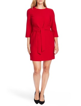 Belted Stretch Crepe Dress by Vince Camuto