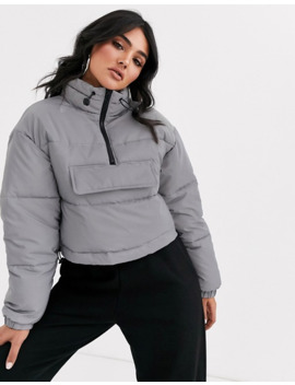 Asos Design Crop Reflective Over The Head Puffer Jacket In Grey by Asos Design