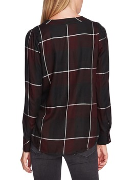 Windowpane Plaid Puff Long Sleeve Top by Vince Camuto