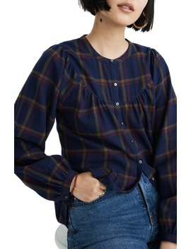 Kingham Plaid Flannel Balloon Sleeve Top by Madewell