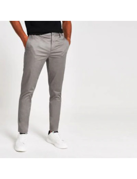 Dark Grey Smart Skinny Fit Chino Trousers by River Island