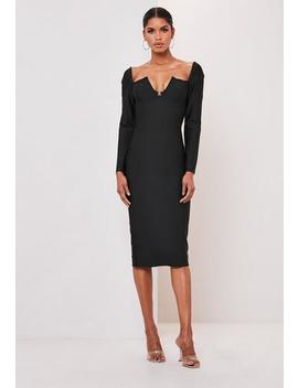 Premium Black V Bar Clasp Bandage Long Sleeve Midi Dress by Missguided