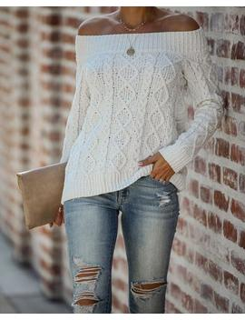 White Mocha Off The Shoulder Cable Knit Sweater by Vici