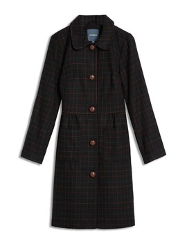 Tie Back Check Coat by Modcloth
