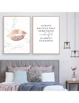 Home Decor Canvas Painting Marble Style Poster Nordic Pink Lip Abstract Letter Pictures Wall Art Print Modular For Bedroom No Frame by Wish
