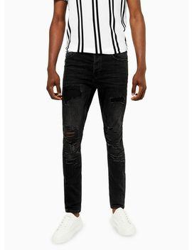 Black Extreme Rip Stretch Skinny Jeans by Topman
