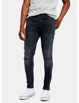 Dark Blue Knee Rip Skinny Jeans by Topman