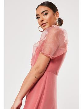 Petite Blush Organza Puff Sleeve Skater Dress by Missguided