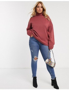 Missguided Plus Oversized Knitted Roll Neck Jumper In Washed Red by Missguided's