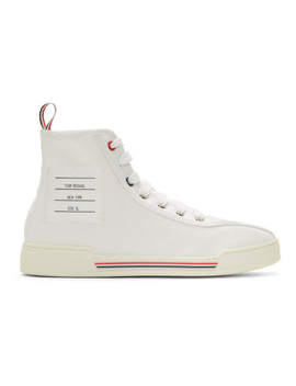 White Tricolor Cupsole High Top Sneakers by Thom Browne