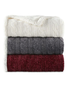 North Pole Trading Co. Faux Chenille Sherpa Knit Throw by North Pole Trading Co