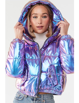 Hooded Metallic Puffer Jacket by Forever 21