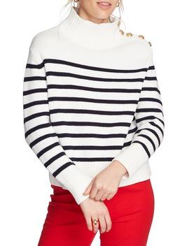 Stripe Mock Neck Sweater by Court & Rowe