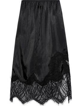 Lace Paneled Satin Twill Skirt by Helmut Lang