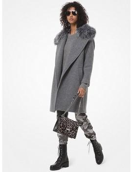 Faux Fur Trim Wool Blend Coat by Michael Michael Kors