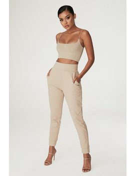 Amelia Fitted High Waisted Joggers   Almond by Meshki