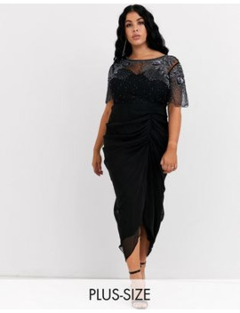 Virgos Lounge Plus Ruched Side Detail With Sheer Overlay Midi Dress In Black by Virgos Lounge