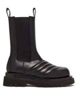 Chevron Quilted Leather Chelsea Boots by Bottega Veneta