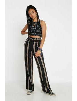 Uo Vertical Stripe Belted Puddle Pant by Urban Outfitters