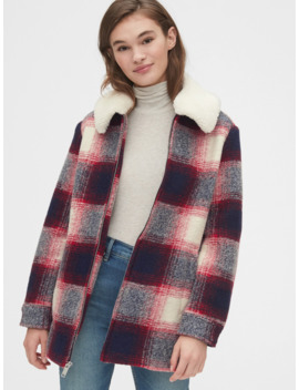 Plaid Wool Blend Coat With Detachable Sherpa Collar by Gap