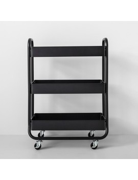 Wide Metal Cart With Wheels Black   Made By Design™ by Made By Design